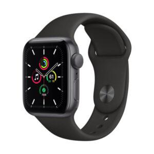 Apple Watch SE GPS, 40mm Space Gray Aluminium Case with Black Sport Band – Regular